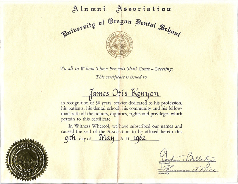 U of O 50 year certificate JO Kenyon